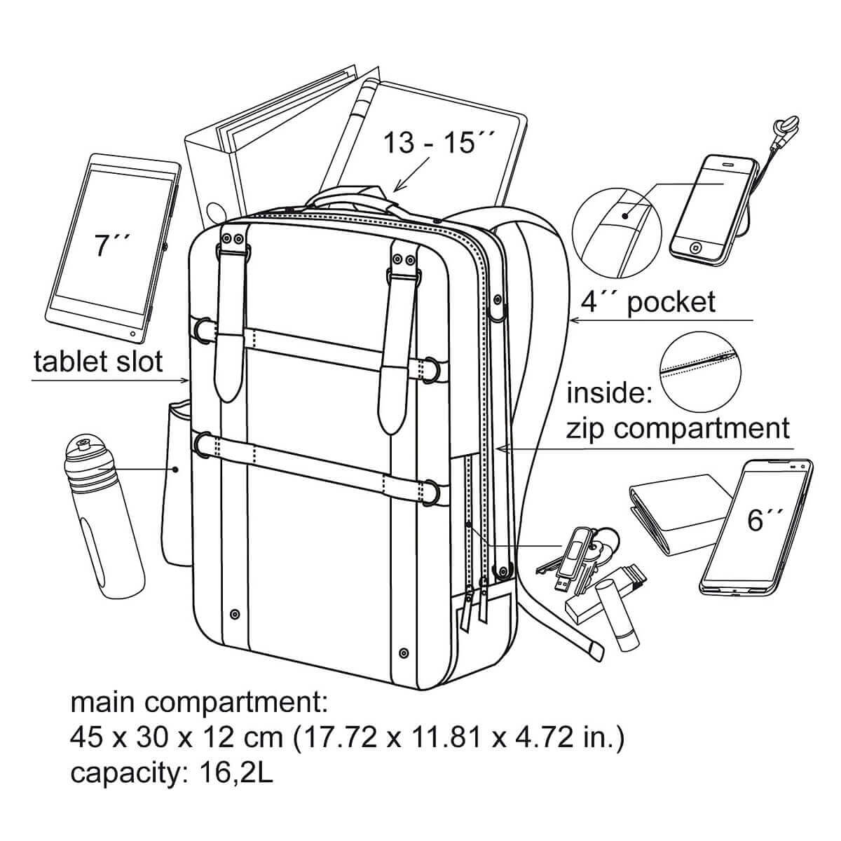laptop backpack with 13