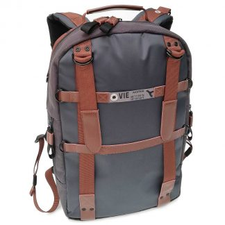 laptop backpack grey real leather