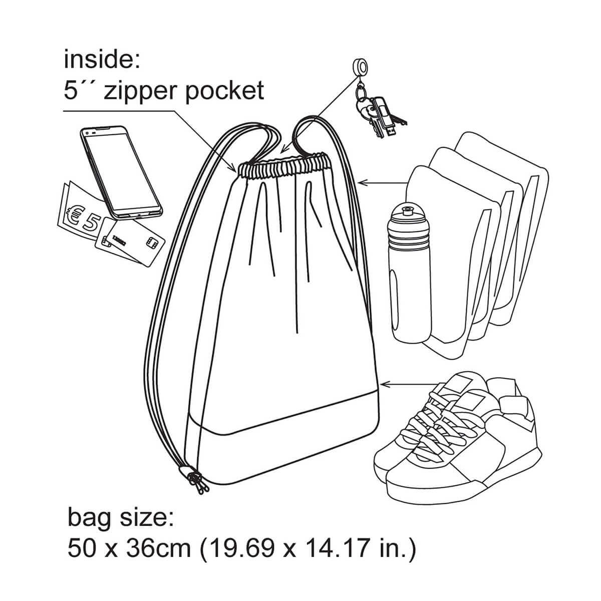 Drawstring hipster bag function