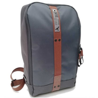 sling backpack grey real leather