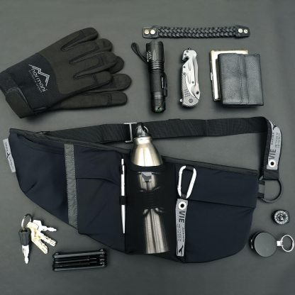 phone waist belt with 5 pockets and bottle holder