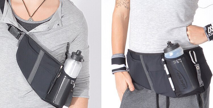 Running belt fanny pack with bootle holder